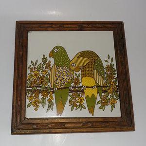 Vintage Parrot Tile Trivet Ceramiche Italy 1970s
